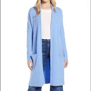 Halogen Cornflower Blue Long Open Front Cardigan